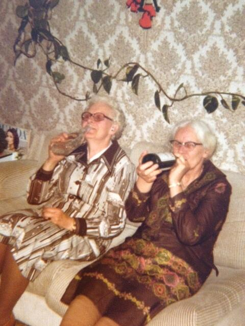 My grandma, left, and her sister having fun. #booze http://t.co/ZVzwRXiy29