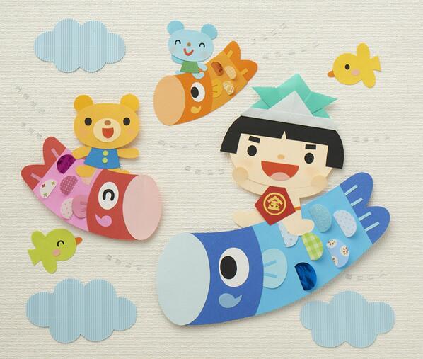 紙 折り紙 包装紙 折り紙 : こいのぼりの壁面 - Togetter ...