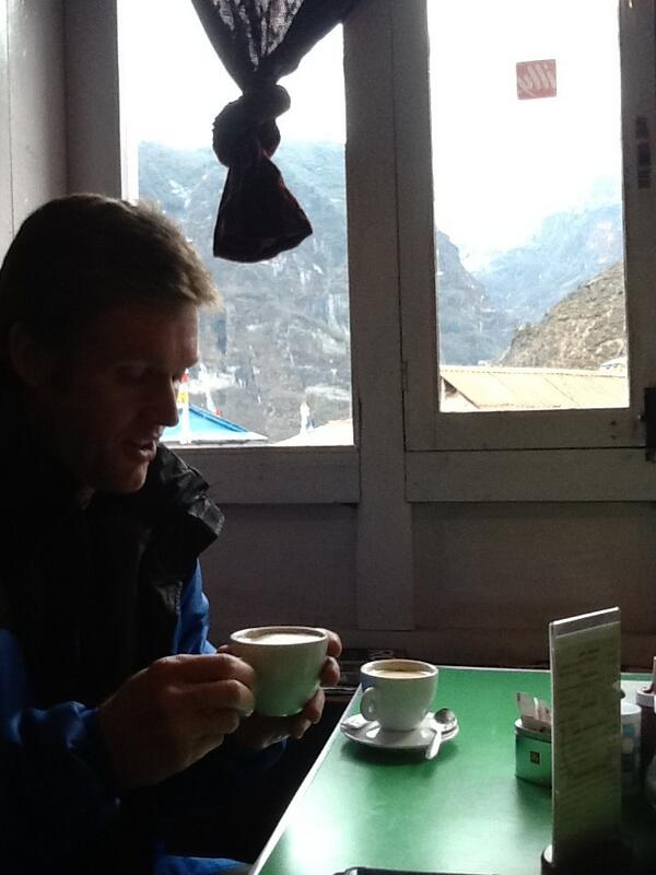 Ross enjoying a great Cappucino after a hard day's walk to Namche. Both groups together this evening! http://t.co/UrQDunuDkD