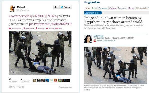 Seguidores de @hcapriles denuncian represión con fotografía de protesta en Egipto. Aquí pueden ver la mentira: http://t.co/x3vCzw3r1D