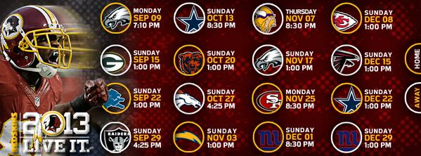 It's 8 PM in #Redskins Nation, so bring on the 2013 regular season schedule: http://t.co/jsv1i7oHEh