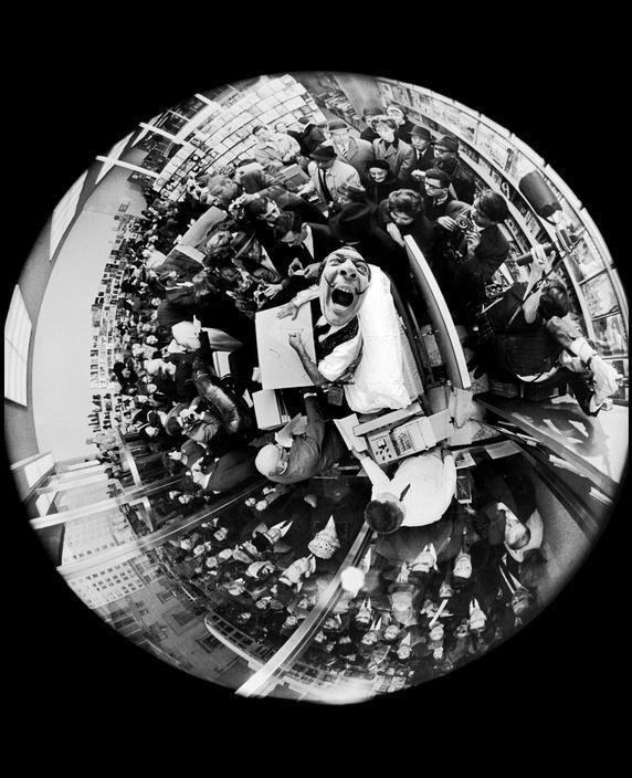 Fisheye Photo of Salvador Dali at a 1963 Book Signing by Philippe Halsman http://t.co/qXuYrriHjC