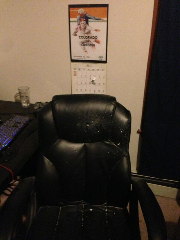Bullet hole through our wall and the chair #mitshooting #mit #boston http://t.co/1MyuMduM7T
