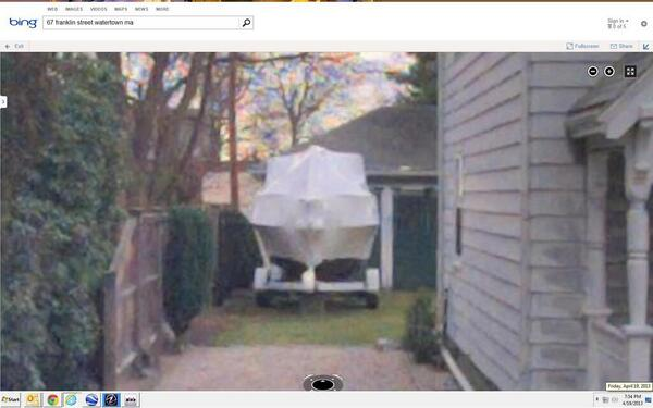 RT @TimWilliamsCBS: #BREAKING: Closer look at the boat where alleged Boston Marathon bomber is hiding out. http://t.co/5ivDdICVwX