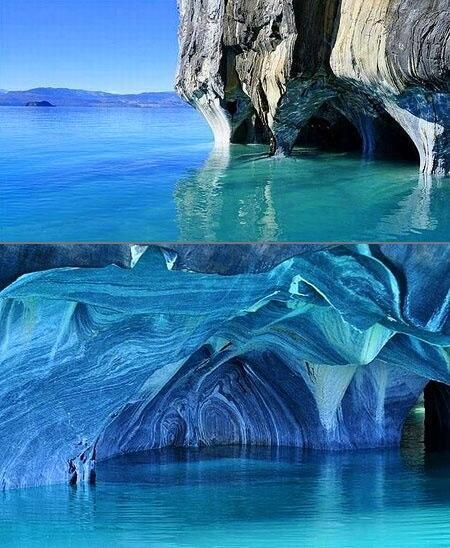 Cuevas de mármol, Chile. Espectacular. http://t.co/pSNjTii6I2