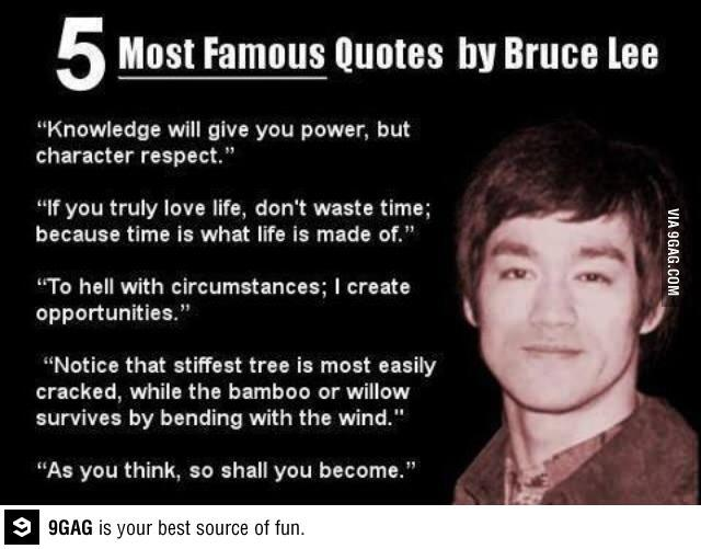 9GAG : 5 Most Famous Quotes by Bruce Lee http://t.co/4WbzPduUKz - 2013 ...