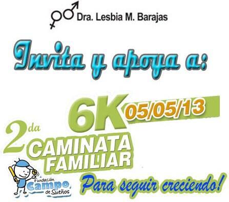 via @campodsuenos: Dra. Lesbia Barajas invita a II Caminata Familiar 6K a beneficio de la nueva piscina. http://t.co/jz7XRJETFY