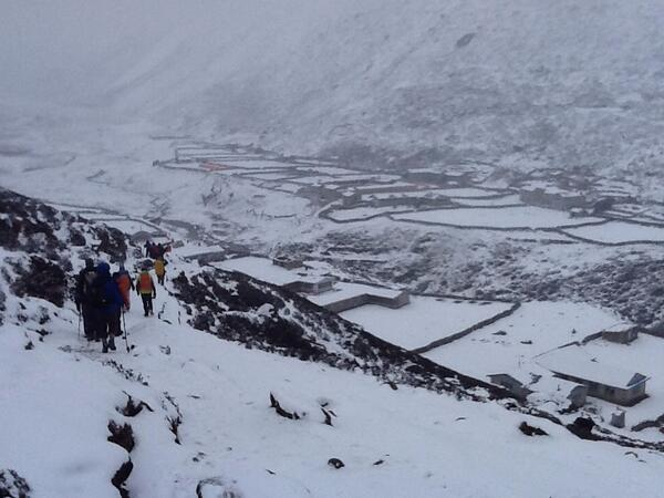 Group 1 Approaching a village through the snow. #SAConEverest http://t.co/ILsmsHHeKX