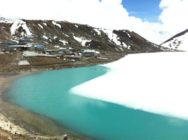 The village at gokyo with the lake in the foreground. #SAConEverest http://t.co/6vMBGiynOm