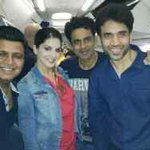 With @SunnyLeone , @TusshKapoor and @bajpayeemanoj ! En route dubai ! @Shootoutwadala