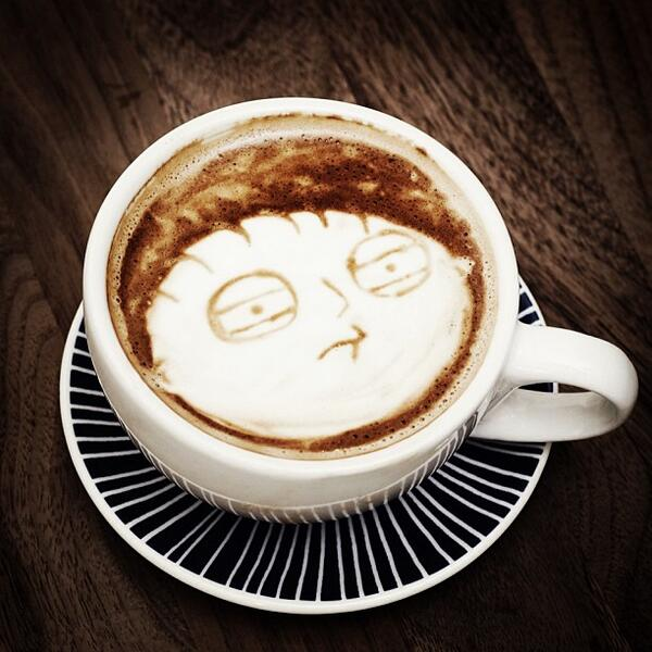 What the deuce? Coffee art by Mike Breach http://t.co/gm4hmMf0pK