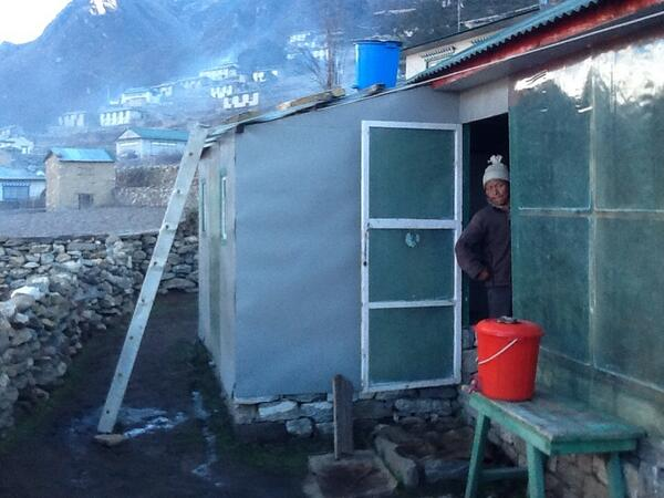 The Everest shower - a treat when available! Note the buckets and the ladder. #SAConEverest http://t.co/2Uy6k47XgA