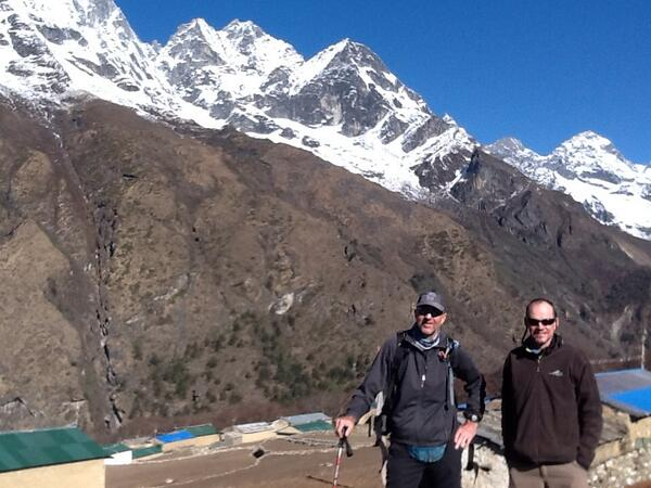 Rick and me before setting off from Phortse to Dingboche. Trekking day 10. http://t.co/NhfnX9rmQR