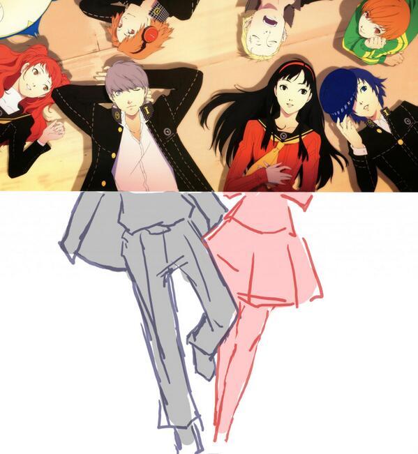 ペルソナ4ドラマCDジャケット絵。番長と雪子の下半身を描き足してみると…ちょっと密着しすぎじゃないですかね…番長と雪子は