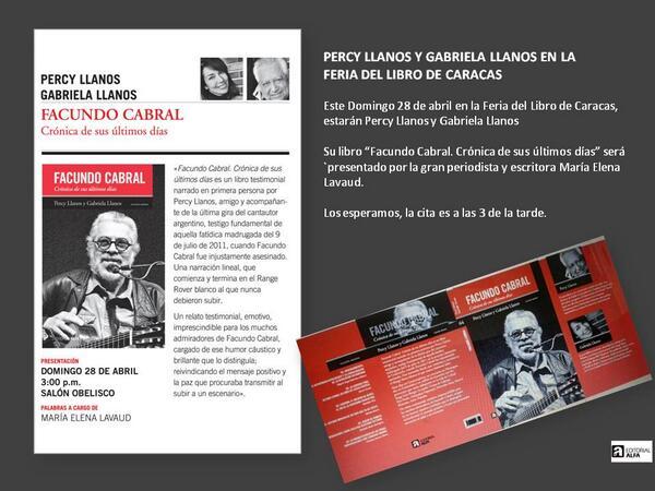 RT @ommproduccion: RT @marianallanosg: Domingo 28 abril 3pm. Feria del Libro de Caracas. Libro Facundo Cabral de Gabriela y Percy Llanos http://t.co/6kpEqjQfeq