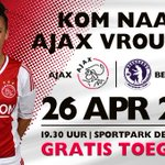 Vanavond spelen de #ajaxvrouwen een thuiswedstrijd tegen hekkensluiter Beerschot (19:30 uur). Toegang gratis!