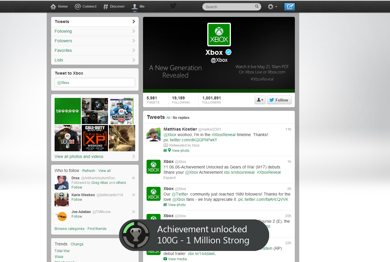 Congrats to @Xbox for reaching 1 million Twitter followers! *cue achievement unlocked sound* http://t.co/HIGKQxiyu0