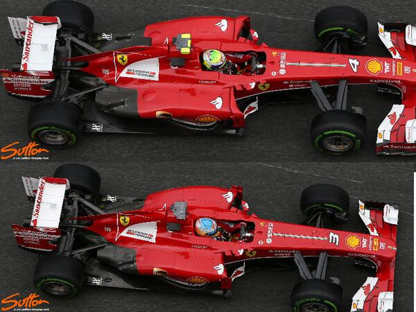 RT @SomersF1: Ferrari Overhead Comparson, Felipe's spec has new Airflow Conditioners and elongated Exhaust Bodywork @SuttonImages http://t.co/q79NE5PojR