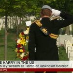 Prince Harry salutes military personnel killed in line of duty, as he visits Arlington National Cemetery on US tour