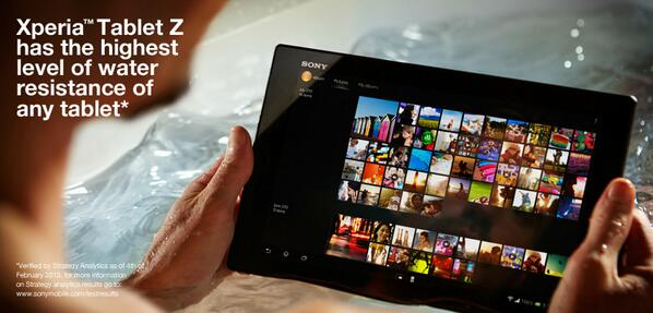 #XperiaTabletZ has the highest level of water resistance of any tablet.* http://t.co/ZJQmMAo4Jv