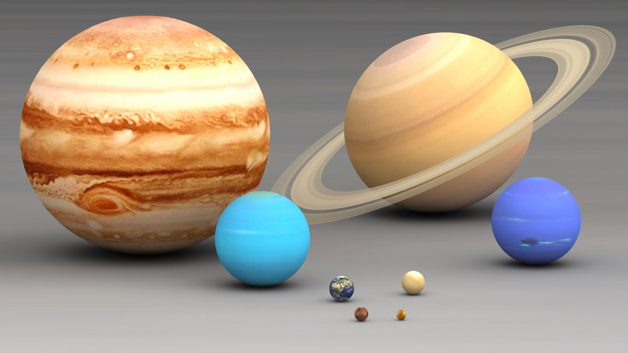 RT @MrHistory123: Awesome pic showing the size of the 8 planets in our solar system relative to each other. #Space #Science http://t.co/Z5wTzm8O5G
