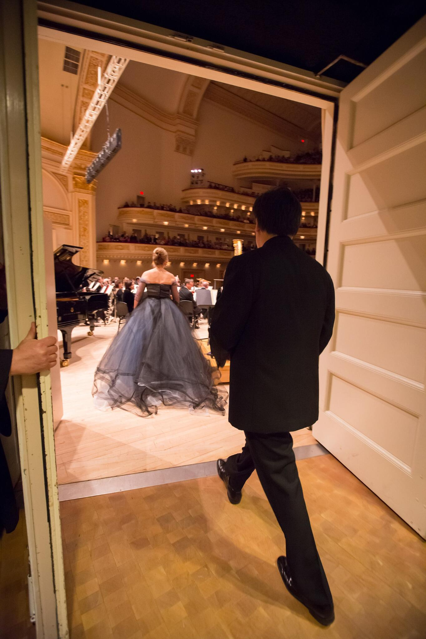 From Fri's @carnegiehall perf, @reneesmusings and @GilbertConducts take to the stage. (Photo: Chris Lee) #thatdress http://t.co/MbbNXDdf1r
