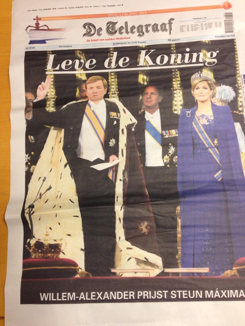 RT @jkmr: De @telegraaf van morgen. #trots #troon http://t.co/u7xGELmrzQ