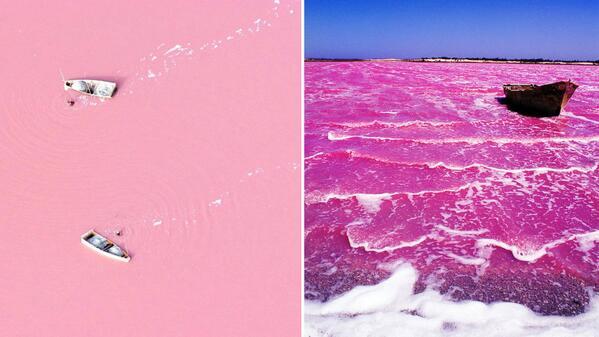 """#TahuGakSih Danau """"PINK""""? yaitu Danau Lac Rose (Senegal) & danau Hillier (Australia). masih misteri mengapa bisa pink http://t.co/CDZZDCHyx9"""