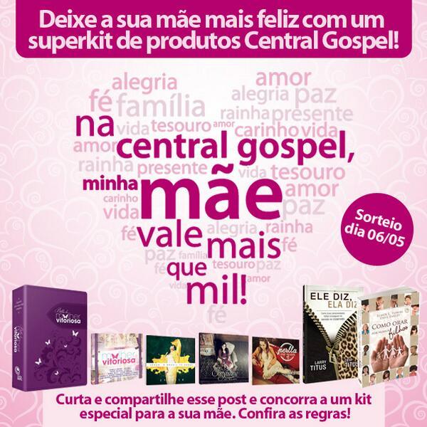 Participe da promoção de Dia das Mães no Facebook da Central Gospel e concorra a um superkit:http://t.co/pJHdfg0EVg. http://t.co/zdzLX8gxQE