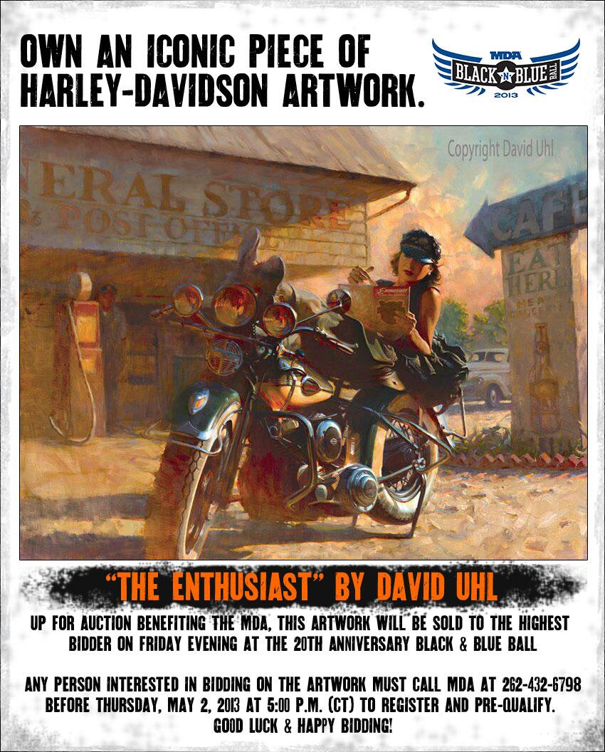Own this iconic @UhlStudios H-D art & raise $ for @MDA. Call 262-432-6798 before 5p CT 5/2/13 to pre-qualify. http://t.co/46PIlqPqyf