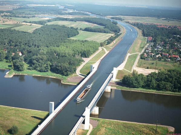 Aerial View of the Magdeburg Water Bridge in Germany http://t.co/idhsPbEz0r