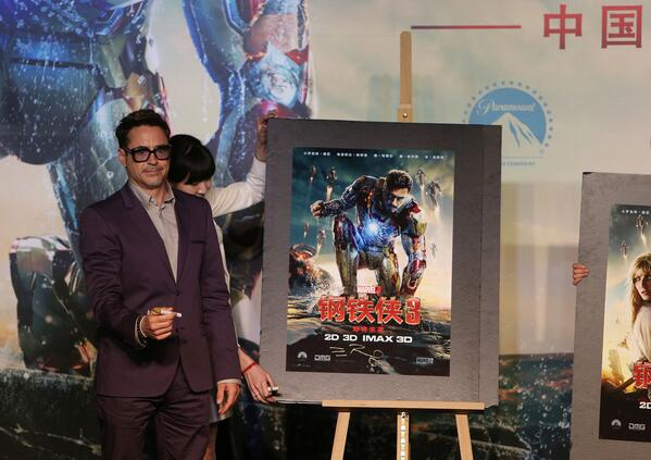 """""""Iron Man 3"""" broke China's box office record by raking in 130 mln yuan(US$ 21.1 mln)on its opening day http://t.co/Io4CxV6sG3"""