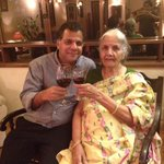 Jai Ho.:) @rajcheerfull: Saying cheers to Life .. With the most beautiful woman, at 93, she is my inspiration! 