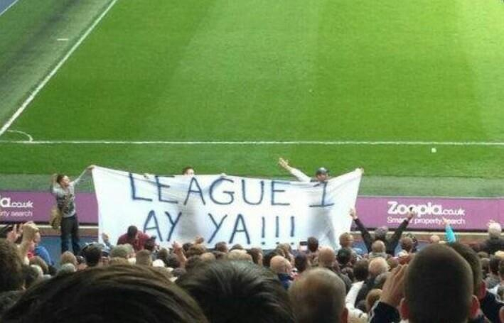 Picture: West Brom enjoy Wolves relegation with a League 1, Ay Ya!!! banner