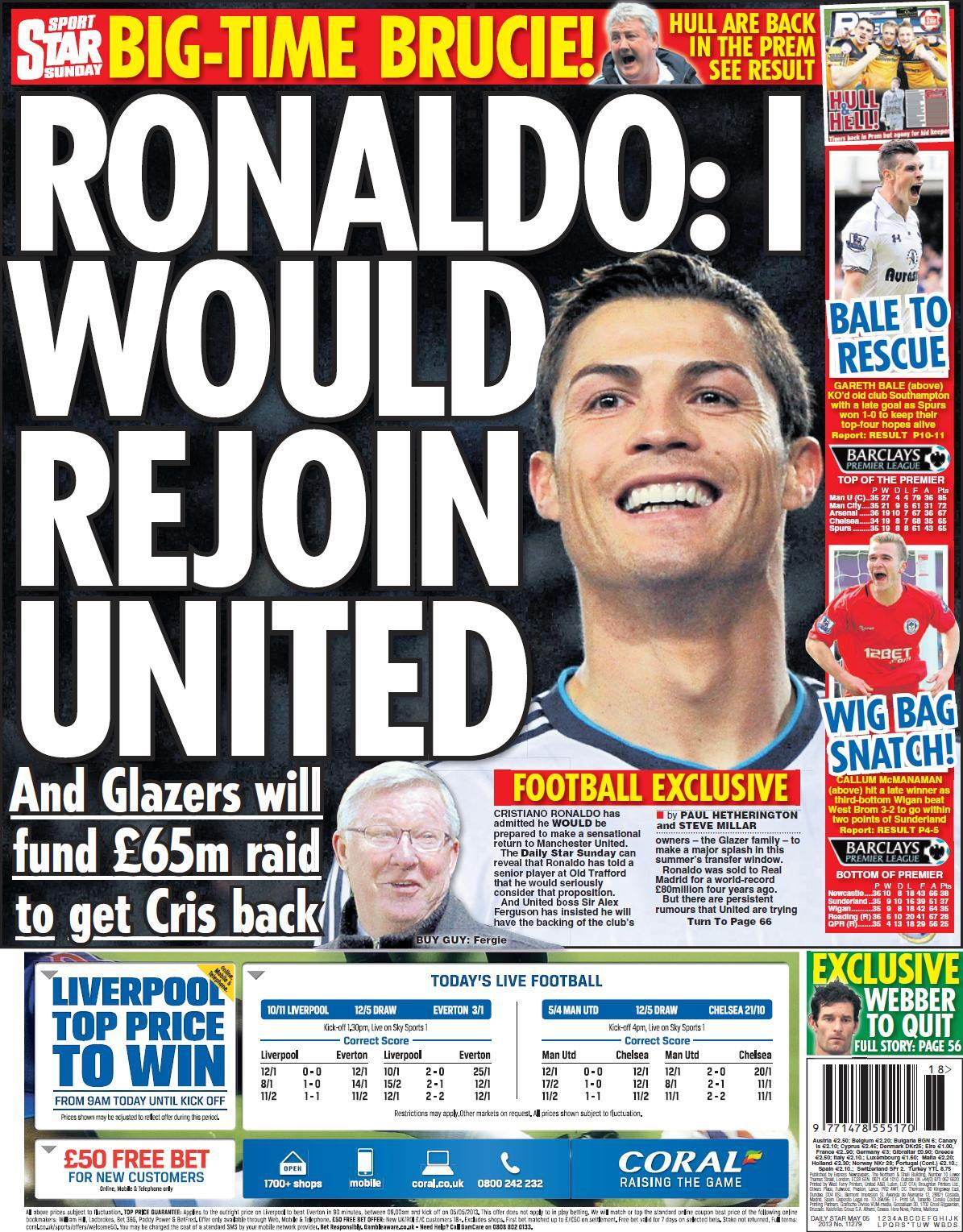 Picture: Star on Sunday splash with Ronaldo would rejoin Man United, Glazers back £65m bid