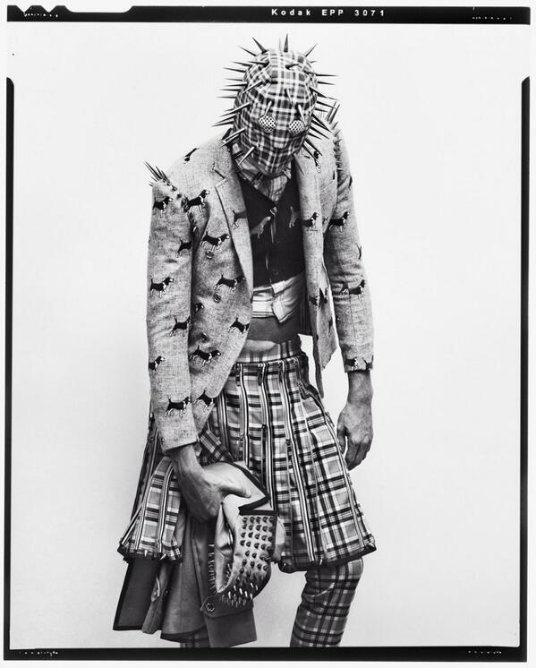 "Fall 2012 Printed Leather Spiked Mask & ""Punk"" Suit with Zipper Kilt #punkfashion @huskmag http://t.co/e8U2uW4W1Y"