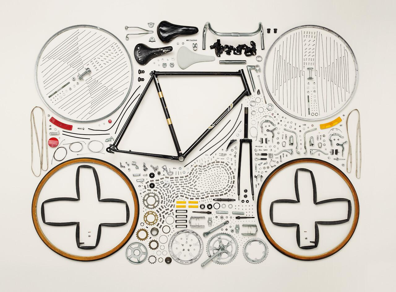 Fully Disassembled Road Bike Neatly Arranged by Todd McLellan http://t.co/f1c9i7d1Wc