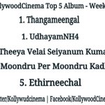RT @KollywudCinema: #Kollywoodcinema Top5Album 1. #Thangameengal 1. #UdhayamNH4 2. #TVSK 4. #MPMK 5. #Ethirneechal RT