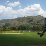 Pic: The Pakistan team practices in Abbottabad under the watch of an armed policeman.