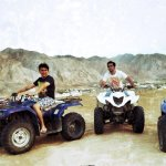 Some @submergemusic crew. @karanbadkar @Maitrai_J @wadhwajai and @arnoldwilson02 on quad bikes in Muscat. #Bajje