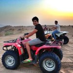 The sunset.. And @karanbadkar and @WadhwaJai on Quad bikes in Muscat #Bajje #Khallas
