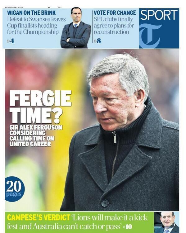 Here's the splash of tomorrow's @TelegraphSport - Fergie Time? Via @MOgdenTelegraph #mufc http://t.co/99O0mwmc18