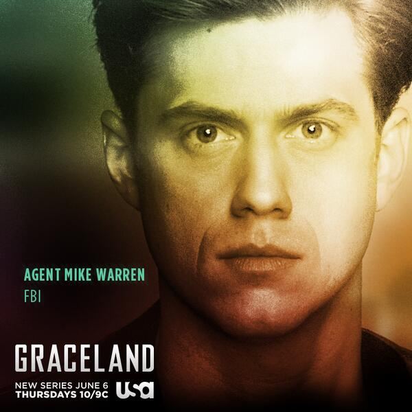 Meet FBI Agent Mike Warren (Aaron Tveit). Share his poster if you're ready to go undercover w/ #Graceland June 6th. http://t.co/6s3g5Ho7IB