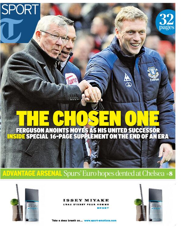 'The Chosen One' - today's Telegraph Sport front page http://t.co/0sKP3ia8kd