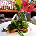 Sautéed NC soft shell crab over farmers market turnip purée & sautéed greens w/ marinated kale & pistachio dressing http://t.co/jonaYhEE1s