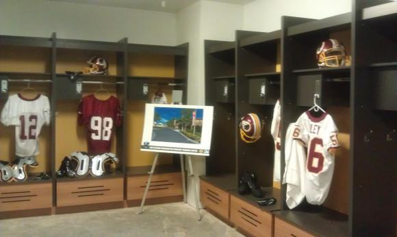 Here's a behind-the-scenes glimpse inside the locker room at @BonSecoursRVA #Redskins Training Center! #HTTR #LiveIt http://t.co/MO9QYyAf9I