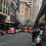 ": BREAKING: Image from the fire on Pitt Street in the CBD. Avoid the area, large amounts of smoke. https://t.co/2LpctZE2Av"" @narguise"