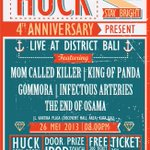 RT @MCK_Bali: Selamat malam, gigs kami selanjutnya #HUCK4thAnniv party at District Bali , be there guys ╰m╯ http://t.co/ZFaywzjqNz
