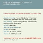 Nice. RT @fullhyderabad Paid internships in Hyderabad for college students. Please RT. http://t.co/9mrpf6nUWq
