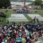 The crowd is filing in for #CoastGuardAcademy graduation and key speaker Vice President Joe Biden http://t.co/kiZte5YDSj